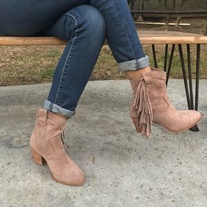 TAUPE FAUX SUEDE FRINGE BOOTS